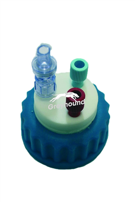 """Picture of Smart Healthy Cap GL45 with 2 outlets (1/8"""" to 1/16"""" ) + 1 air check valve"""